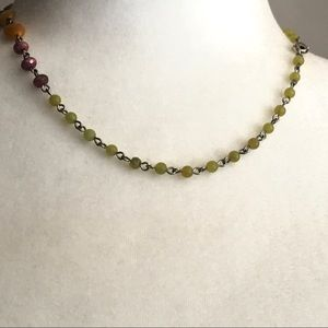 Jewelry - Faceted Natural Gemstone Bead Links Necklace 17""